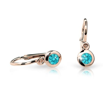 Baby earrings Danfil C1537 Rose gold, Mint Green, Front backs