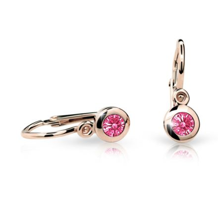 Baby earrings Danfil C1537 Rose gold, Tcf Red, Front backs