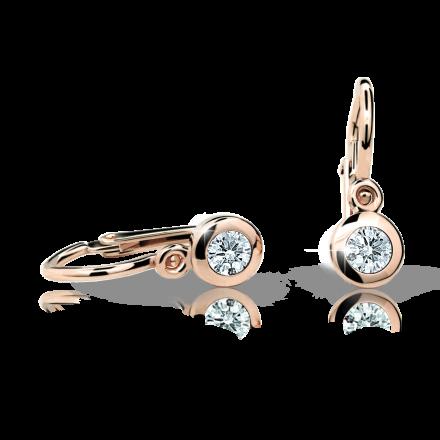 Baby earrings Danfil C1537 Rose gold, White, Front backs