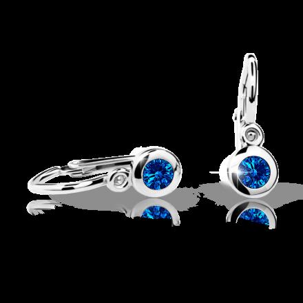 Baby earrings Danfil C1537 White gold, Dark Blue, Front backs