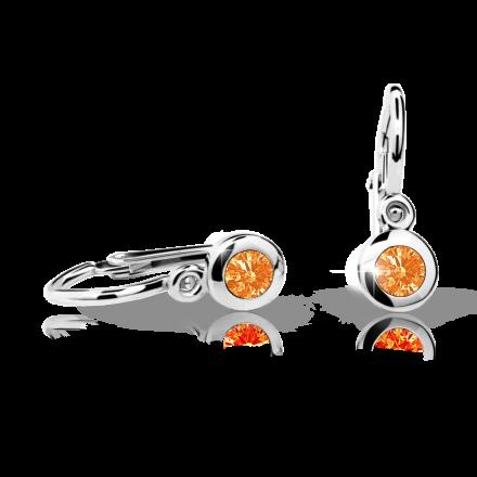 Baby earrings Danfil C1537 White gold, Orange, Front backs