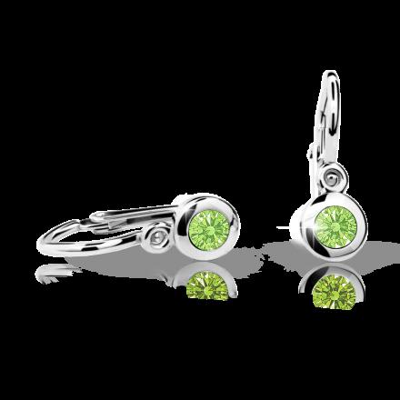Baby earrings Danfil C1537 White gold, Peridot Green, Front backs