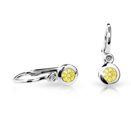 Baby earrings Danfil C1537 White gold, Yellow, Front backs