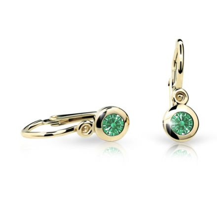 Baby earrings Danfil C1537 Yellow gold, Emerald Green, Front backs