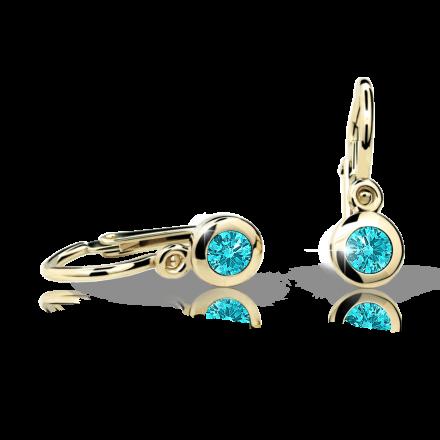 Baby earrings Danfil C1537 Yellow gold, Mint Green, Front backs