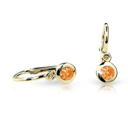 Baby earrings Danfil C1537 Yellow gold, Orange, Front backs