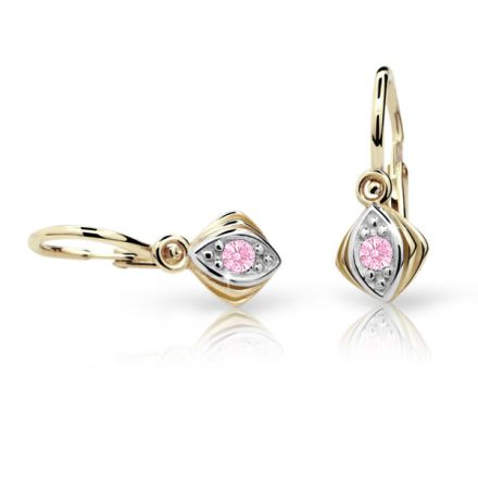 Baby earrings Danfil C1897 Yellow gold, Pink, Front backs