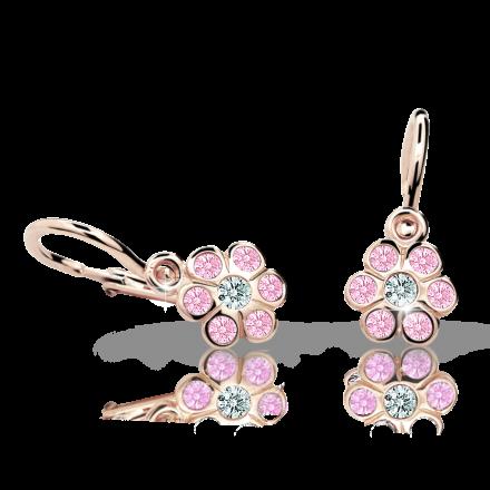 Baby earrings Danfil Flowers C1737 Rose gold, Pink, Front backs
