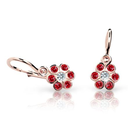 Baby earrings Danfil Flowers C1737 Rose gold, Ruby Dark, Front backs