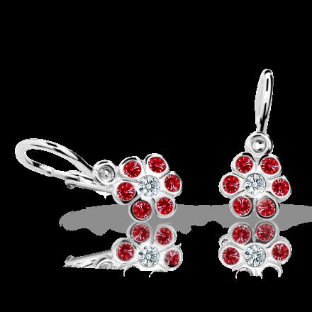 Baby earrings Danfil Flowers C1737 White gold, Ruby Dark, Front backs