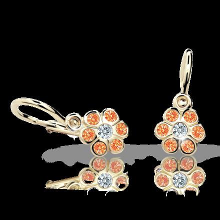 Baby earrings Danfil Flowers C1737 Yellow gold, Orange, Front backs