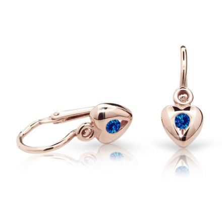 Baby earrings Danfil Hearts C1556 Rose gold, Dark Blue, Front backs