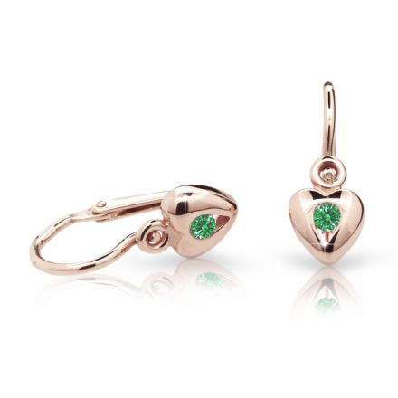 Baby earrings Danfil Hearts C1556 Rose gold, Emerald Green, Front backs