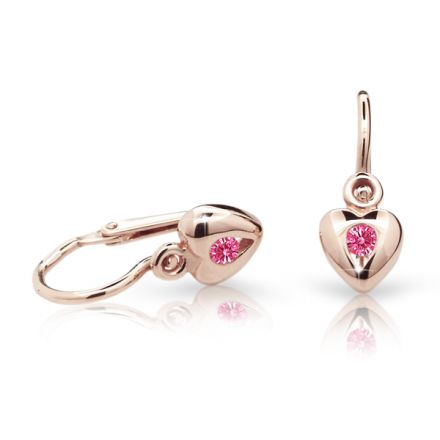 Baby earrings Danfil Hearts C1556 Rose gold, Tcf Red, Front backs