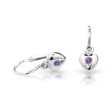 Baby earrings Danfil Hearts C1556 White gold, Amethyst, Front backs
