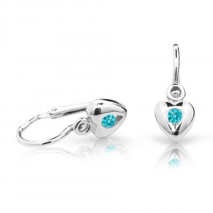 Baby earrings Danfil Hearts C1556 White gold, Mint Green, Front backs