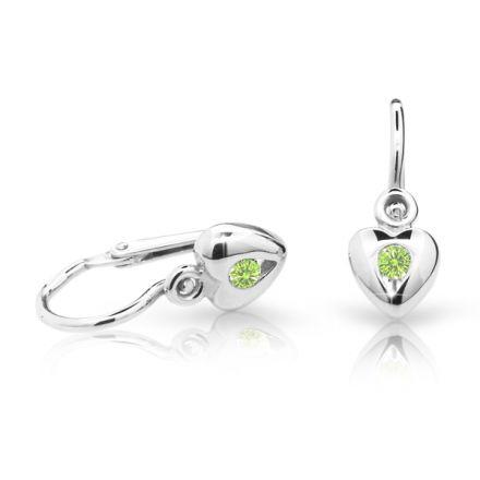 Baby earrings Danfil Hearts C1556 White gold, Peridot Green, Front backs