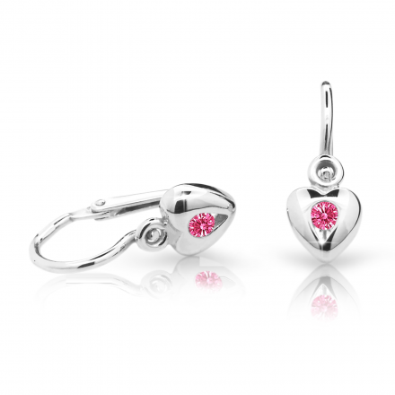 Baby earrings Danfil Hearts C1556 White gold, Tcf Red, Front backs