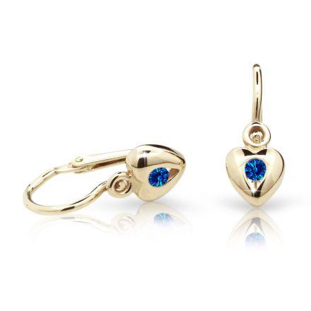 Baby earrings Danfil Hearts C1556 Yellow gold, Dark Blue, Front backs
