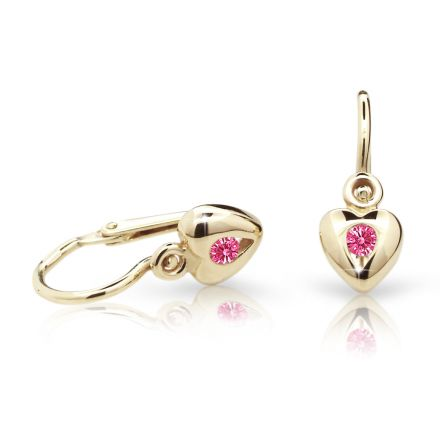 Baby earrings Danfil Hearts C1556 Yellow gold, Tcf Red, Front backs