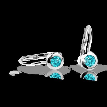 Children's earrings Danfil C1537 White gold, Mint Green, Leverbacks