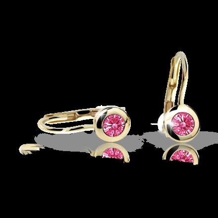 Children's earrings Danfil C1537 Yellow gold, Tcf Red, Leverbacks
