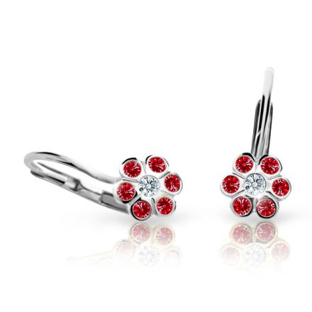 Children's earrings Danfil Flowers C1737 White gold, Ruby Dark, Leverbacks
