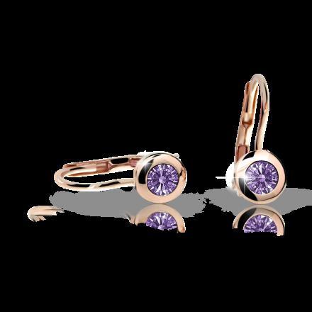 Children's earrings Danfil C1537 Rose gold, Amethyst, Leverbacks