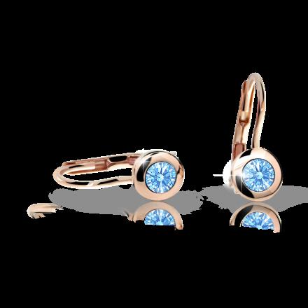 Children's earrings Danfil C1537 Rose gold, Arctic Blue, Leverbacks