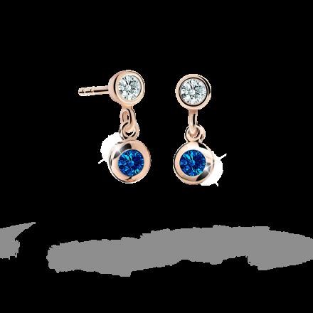 Children's earrings Danfil C1537 Rose gold, Dark Blue, Butterfly backs