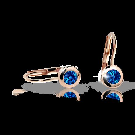 Children's earrings Danfil C1537 Rose gold, Dark Blue, Leverbacks