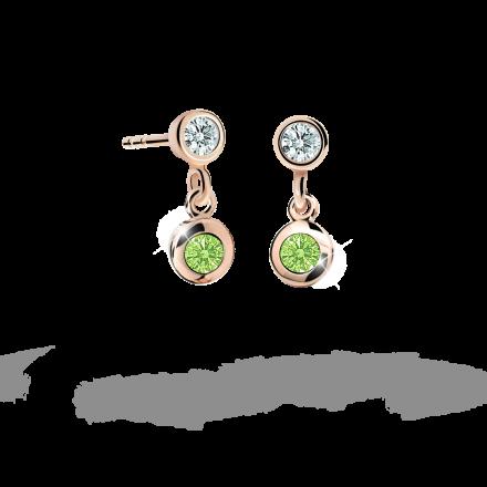 Children's earrings Danfil C1537 Rose gold, Peridot Green, Butterfly backs