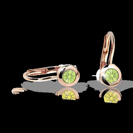 Children's earrings Danfil C1537 Rose gold, Peridot Green, Leverbacks