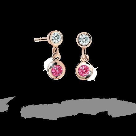 Children's earrings Danfil C1537 Rose gold, Tcf Red, Butterfly backs
