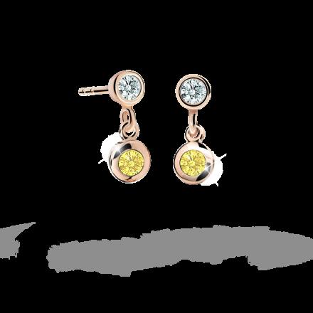Children's earrings Danfil C1537 Rose gold, Yellow, Butterfly backs