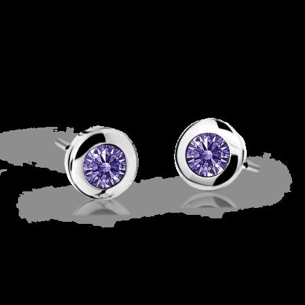 Children's earrings Danfil C1537 White gold, Amethyst, Screw backs