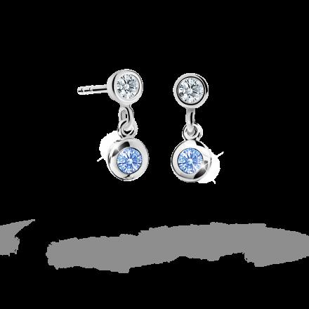 Children's earrings Danfil C1537 White gold, Arctic Blue, Screw backs