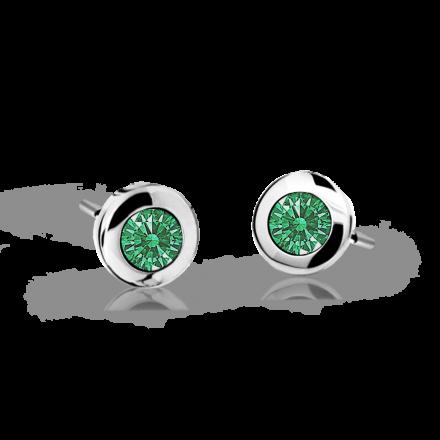 Children's earrings Danfil C1537 White gold, Emerald Green, Screw backs