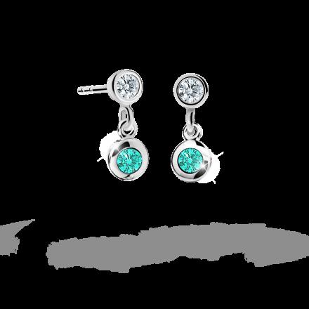 Children's earrings Danfil C1537 White gold, Mint Green, Screw backs