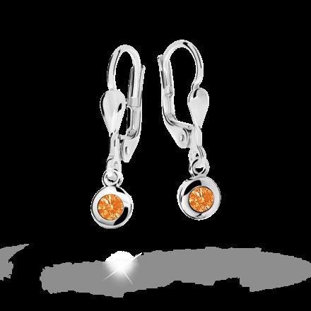 Children's earrings Danfil C1537 White gold, Orange, Leverbacks