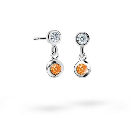 Children's earrings Danfil C1537 White gold, Orange, Screw backs