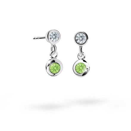 Children's earrings Danfil C1537 White gold, Peridot Green, Butterfly backs