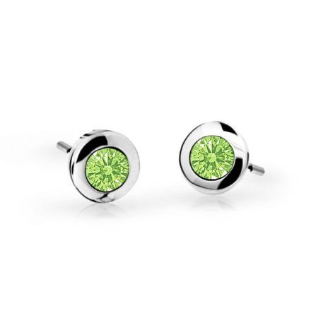 Children's earrings Danfil C1537 White gold, Peridot Green, Screw backs