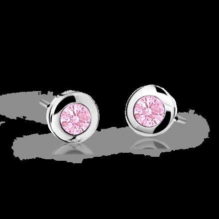 Children's earrings Danfil C1537 White gold, Pink, Butterfly backs