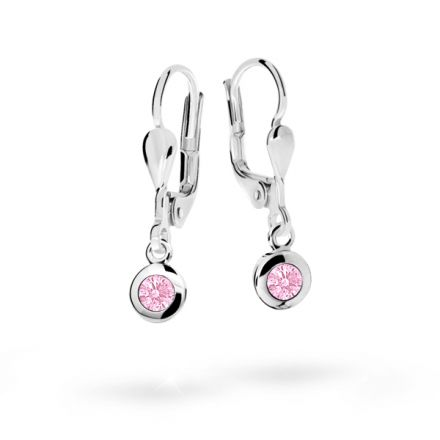 Children's earrings Danfil C1537 White gold, Pink, Leverbacks