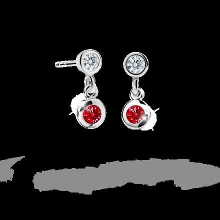 Children's earrings Danfil C1537 White gold, Ruby Dark, Screw backs
