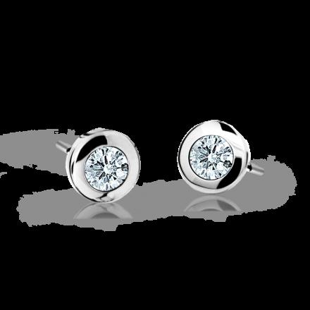 Children's earrings Danfil C1537 White gold, White, Butterfly backs