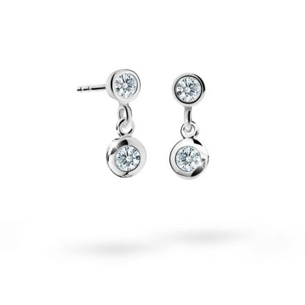 Children's earrings Danfil C1537 White gold, White, Screw backs