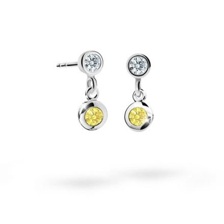 Children's earrings Danfil C1537 White gold, Yellow, Butterfly backs
