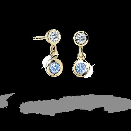 Children's earrings Danfil C1537 Yellow gold, Arctic Blue, Butterfly backs